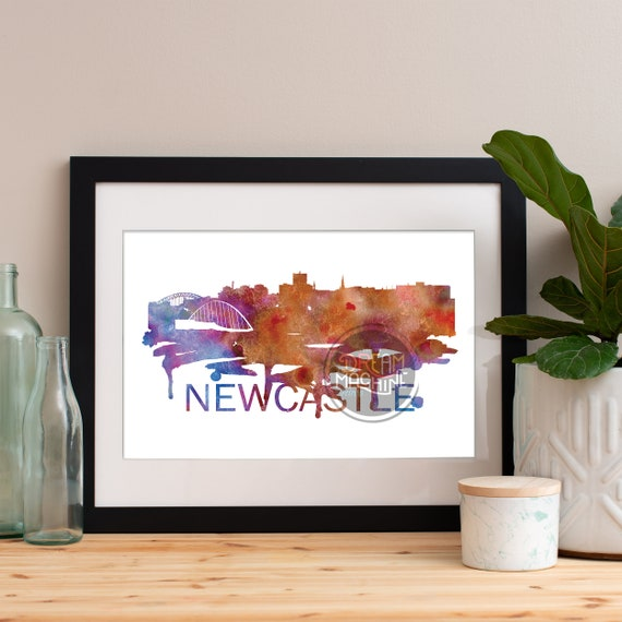 Newcastle Watercolor Skyline, Newcastle Skyline, Newcastle Art, Newcastle Poster, Newcastle Print, Newcastle Art, Newcastle Map, Newcastle