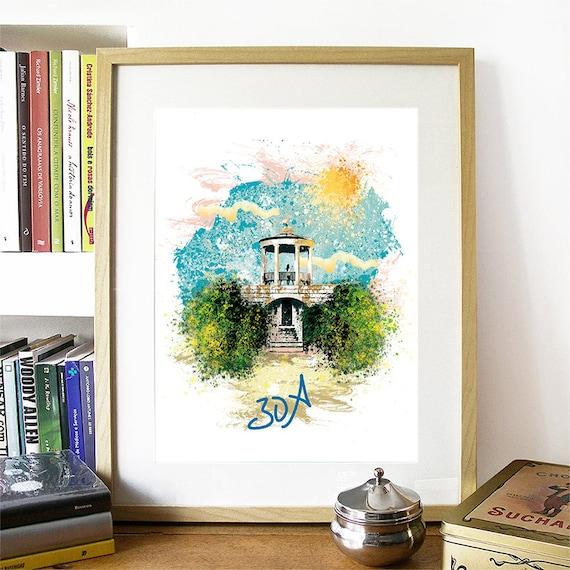 30A Print, 30A Skyline, 30A Art, 30A Poster, 30A Watercolor, 30A Art Print, 30A Map, 30A Wall Art, 30A Florida