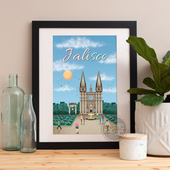 Jalisco Print, Jalisco Skyline, Jalisco Art, Jalisco Poster, Jalisco Watercolor, Jalisco Art, Jalisco Map, Jalisco Wall Art, Mexico Art
