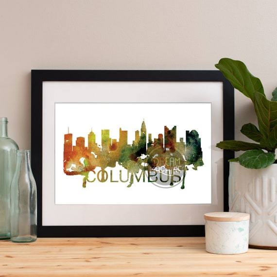 Columbus Watercolor Skyline, Columbus Skyline, Columbus Art, Columbus Poster, Columbus Print, Columbus Art, Columbus Map, Columbus Wall Art