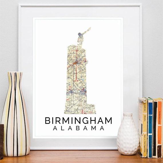 Birmingham Print, Birmingham Skyline, Birmingham Art, Birmingham Poster, Birmingham Watercolor, Birmingham Art Print, Birmingham Map