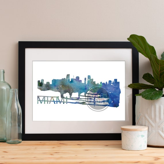 Miami Watercolor Skyline, Miami Skyline, Miami Art, Miami Poster, Miami Print, Miami Art, Miami Map, Miami Wall Art, Florida Art