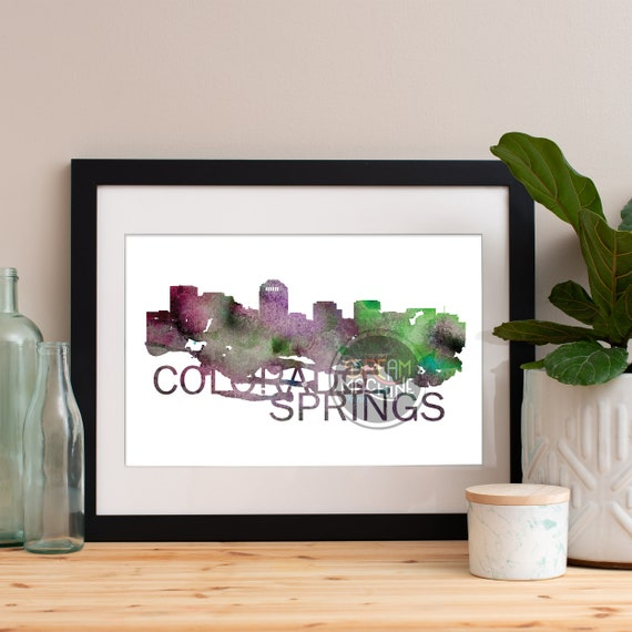 Colorado Springs Watercolor Skyline, Colorado Springs Skyline, Colorado Springs Art, Colorado Springs Poster, Colorado Springs Print