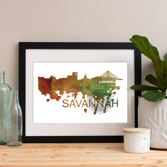 Savannah Watercolor Skyline, Savannah Skyline, Savannah Art, Savannah Poster, Savannah Print, Savannah Art, Savannah Map, Savannah Wall Art
