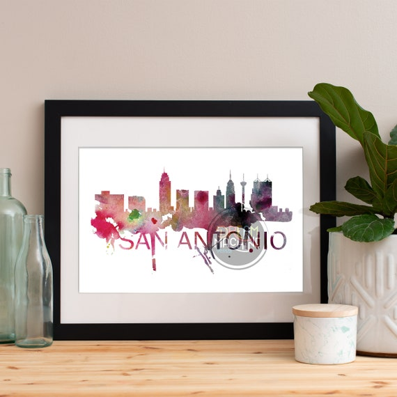 San Antonio Watercolor Skyline, San Antonio Skyline, San Antonio Art, San Antonio Poster, San Antonio Print, San Antonio Art, San Antonio