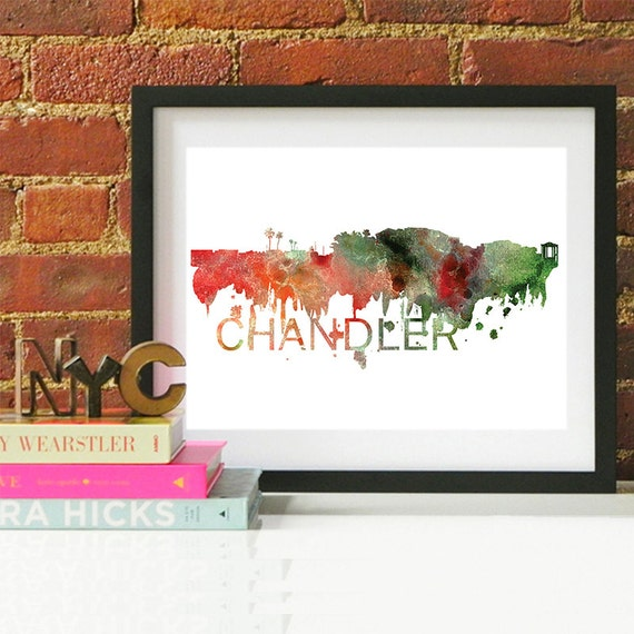Chandler Watercolor Skyline, Chandler Skyline, Chandler Art, Chandler Poster, Chandler Print, Chandler Art, Chandler Map, Chandler Wall Art