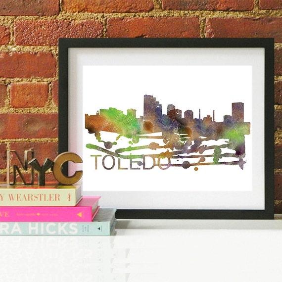Toledo Watercolor Skyline, Toledo Skyline, Toledo Art, Toledo Poster, Toledo Print, Toledo Art, Toledo Map, Toledo Wall Art, Ohio Art