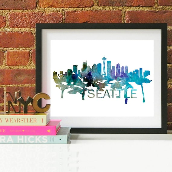 Seattle Watercolor Skyline, Seattle Skyline, Seattle Art, Seattle Poster, Seattle Print, Seattle Art, Seattle Map, Seattle Wall Art, Seattle