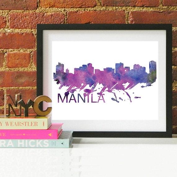 Manila Watercolor Skyline, Manila Skyline, Manila Art, Manila Poster, Manila Print, Manila Art, Manila Map, Manila Wall Art, Philippines Art