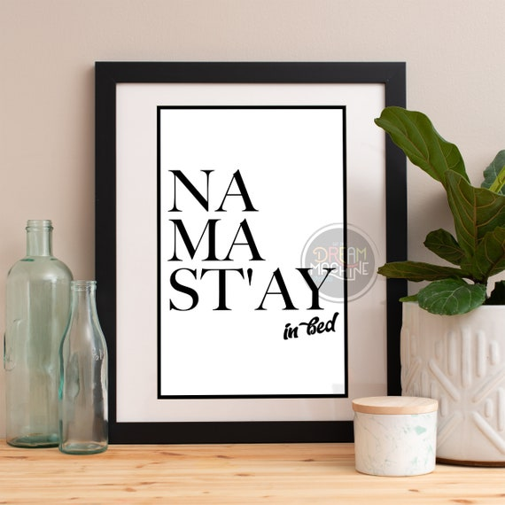 Motivational Poster Namastay in bed, Namast'ay in bed Colorful Poster Art Print colorful Motivational Poster Whimsical Poster