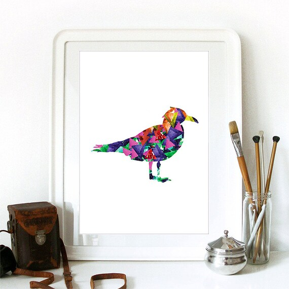 Seagull Print Watercolor Triangles