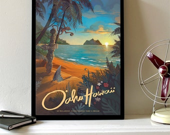 Hawaii North Shore Travel Poster, Hawaii Art, Hawaii Wall Art, Hawaii Print, Hawaii Painting, Beach Decor, Beach Art, Beach Print