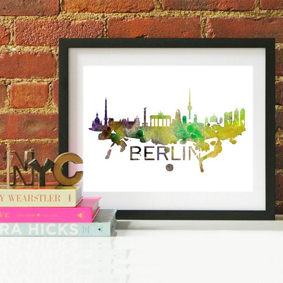 Berlin Watercolor Skyline, Berlin Skyline, Berlin Art, Berlin Poster, Berlin Print, Berlin Art, Berlin Map, Berlin Wall Art, Germany Art