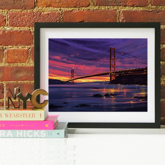 San Francisco Golden Gate Bridge Print, San Francisco Watercolor Skyline, San Francisco Skyline, San Francisco Art, San Francisco Poster