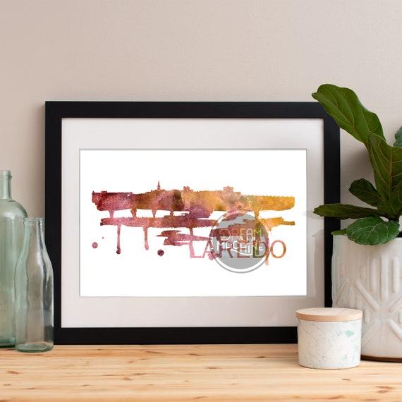 Laredo Watercolor Skyline, Laredo Skyline, Laredo Art, Laredo Poster, Laredo Print, Laredo Art, Laredo Map, Laredo Wall Art, Texas Art