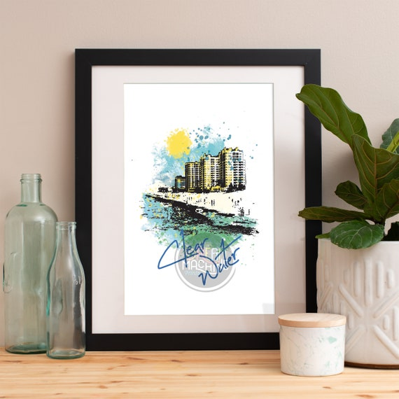 Clearwater Print, Clearwater Skyline, Clearwater Art, Clearwater Poster, Clearwater Watercolor, Clearwater Art Print, Clearwater Florida Map