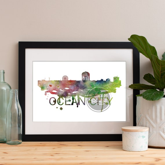 Ocean City Watercolor Skyline, Ocean City Skyline, Ocean City Art, Ocean City Poster, Ocean City Print, Ocean City Art, Ocean City Map