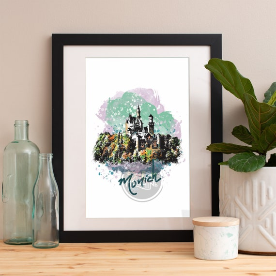Munich Print, Munich Skyline, Munich Art, Munich Poster, Munich Watercolor, Munich Art Print, Munich Map, Munich Wall Art