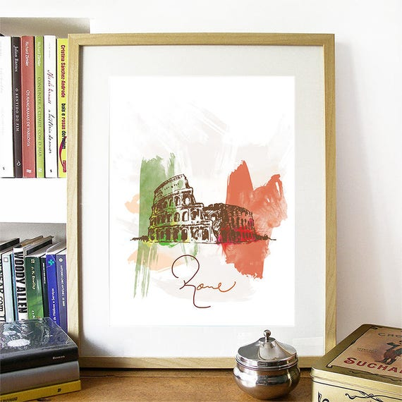 Rome Print, Rome Skyline, Rome Art, Rome Poster, Rome Watercolor, Rome Art, Rome Map, Rome Wall Art, Italy Art