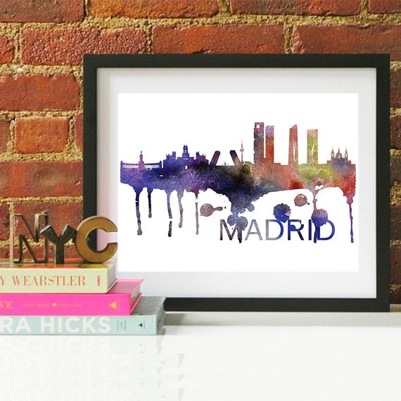 Madrid Watercolor Skyline, Madrid Skyline, Madrid Art, Madrid Poster, Madrid Print, Madrid Art, Madrid Map, Madrid Wall Art, Spain Art