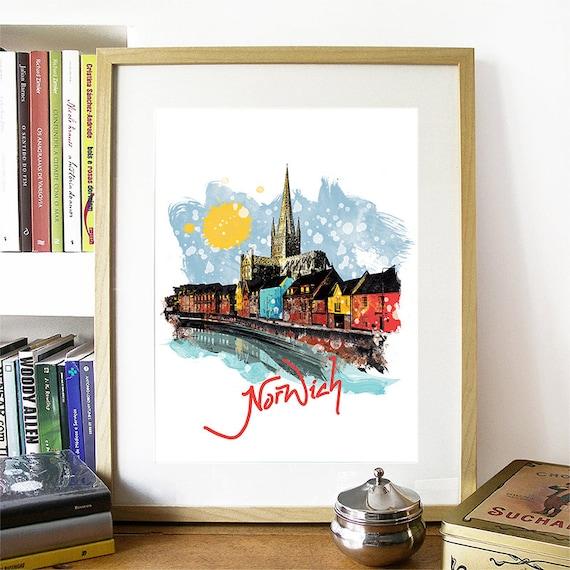 Norwich Print, Norwich Skyline, Norwich Art, Norwich Poster, Norwich Watercolor, Norwich Art Print, Norwich Map, Norwich Wall Art