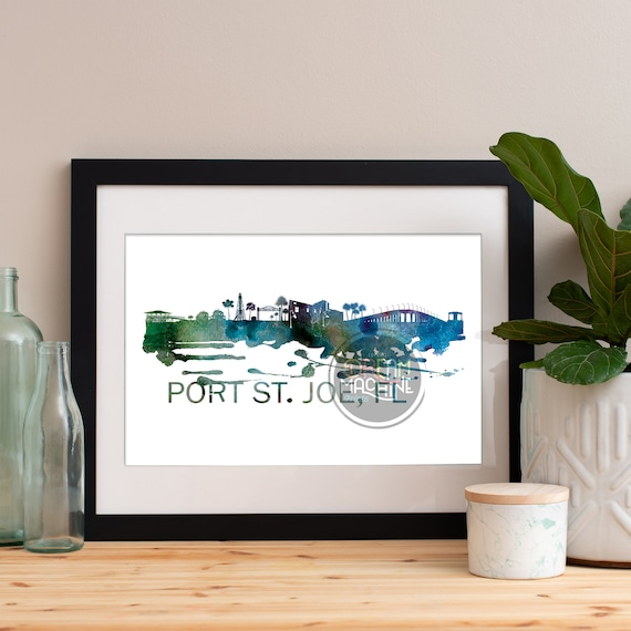 Port St. Joe Watercolor Skyline, Port St. Joe Skyline, Port St. Joe Art, Port St. Joe Poster, Port St. Joe Print, Port St. Joe Art