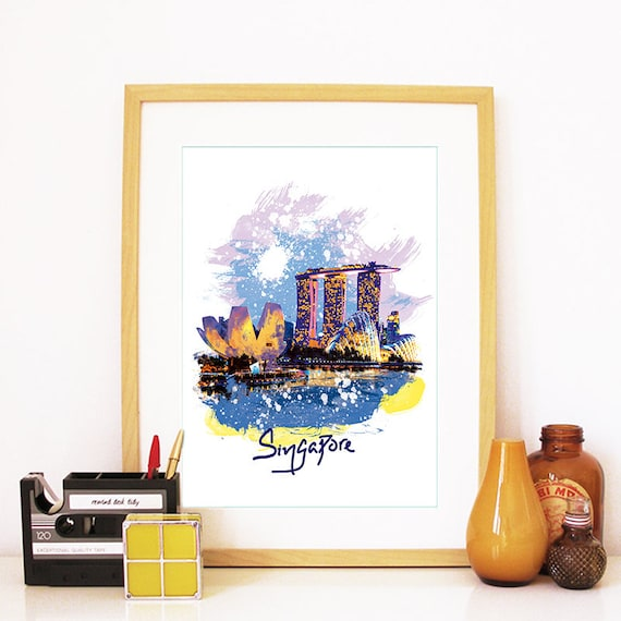 Singapore Print, Singapore Skyline, Singapore Art, Singapore Poster, Singapore Watercolor, Singapore Art Print, Singapore Map, Singapore
