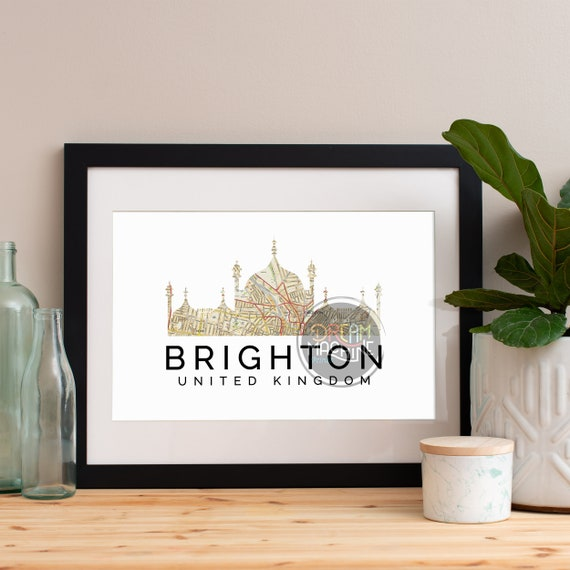 Brighton Print, Brighton Skyline, Brighton Art, Brighton Poster, Brighton Watercolor, Brighton Art Print, Brighton Map, Brighton Wall Art