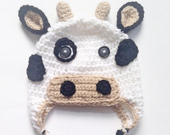 PATTERN** Crochet Cow Hat Pattern, Cow Hat, Crochet Hat Pattern, All Sizes, Newborn to Adult