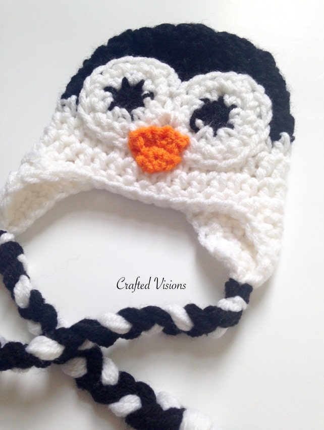 Pattern Crochet Penguin Hat All Sizes Newborn To Adult Etsy