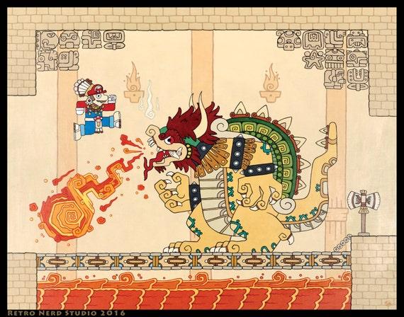 Mario Vs Bowser Super Bros Inspired Art Prints 16x20