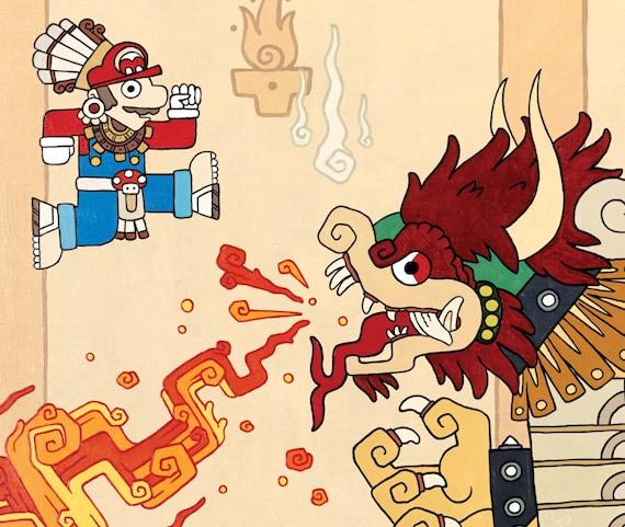 Mario Vs Bowser Super Bros Inspired Art Prints 16x20 Or 11x14 Print Poster Mayan Maya NES Classic Retro Mushroom Goomba