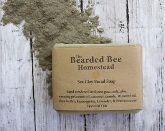Facial Soap. Facial Bar. Face Soap. Goats Milk Soap. Handmade Soap. Lard Soap. Sea Clay. Natural Soap.