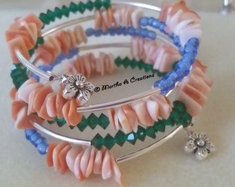 Coral Colored Shell Bracelet