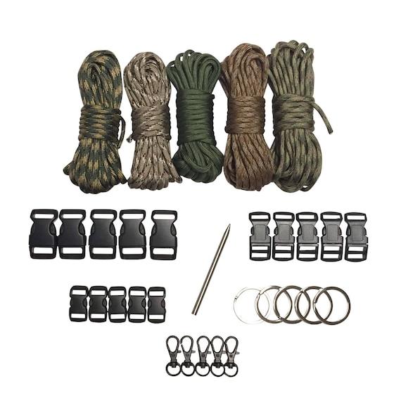 5 Key Rings 100 ft USA Paracord Kit XXL w//15 Buckles 5 Hooks /& Fid