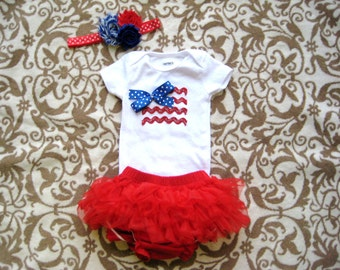 8fb53910e July 4th Baby Girl Bodysuit,diaper cover & matching Headband/Red White  Blue/Patriotic Bodysuit/July 4th outfit for girls/Girls 4th of July