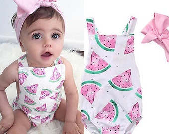 e2fa375a5de Darling Precious White   Pink Cute Baby Girls Romper Jumpsuit Headband  Watermelon Print Outfit