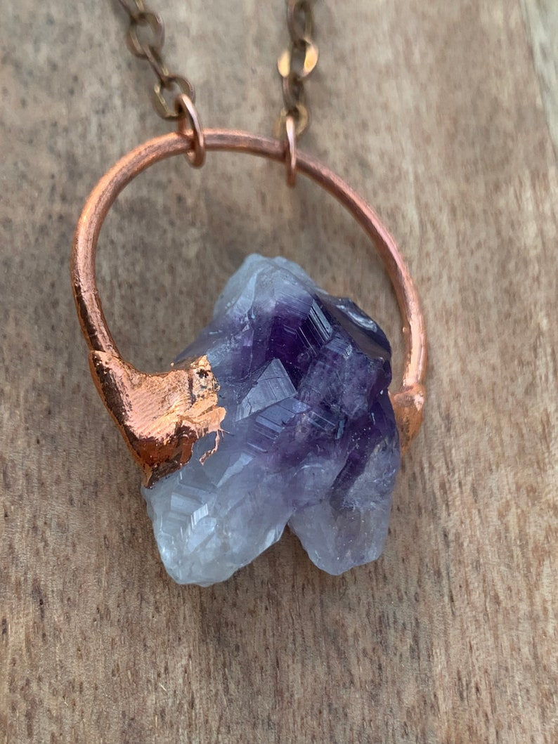 Amethyst Full Moon Electroformed copper necklace