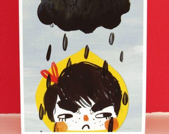 Rainy Day Greetings Card - Raincloud Illustrated Card - Grumpy Notecard