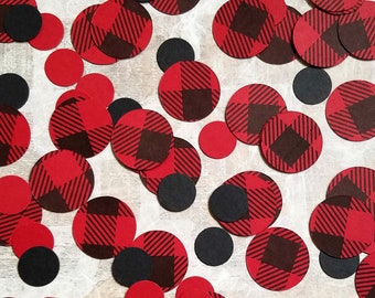 Buffalo Plaid Decor - Buffalo Check Large Paper Confetti Mix for Baby Shower or Birthday Party - Double Sided Circles
