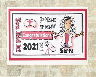 Nursing School Graduation Card - Modern 2021 Nurse Grad Card - Custom Color Graduation Congratulations Card and Envelope Set