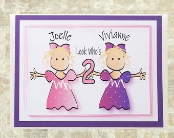 Personalized Birthday Card for Twin Girls - 1st 2nd 3rd Birthday - Twins Happy Birthday Greeting Card and Matching Envelope