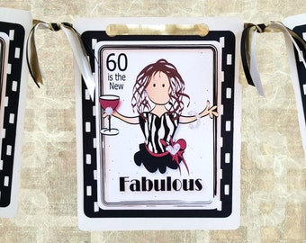 60th Birthday Decorations for Women -  Personalized 60 Birthday Banner for Her - Cheers to 60 Decor - 60 and Fabulous Custom Birthday Sign