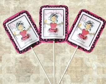 50th Birthday Cake Topper - Custom Illustrated Party Decoration Idea for Her - Personalized Funny 50 Centerpiece Stick for Women with Drink