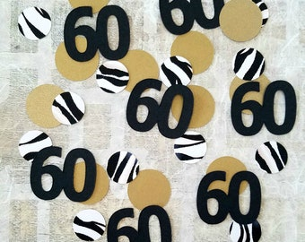 60th Confetti - 60th Birthday Party Table Decoration for Her - Large Paper Zebra and Gold Confetti Circle Assortment - 60th Bday Theme