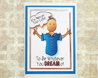 Funny Birthday Card  for Him - Snarky Comical Brother Husband Friend Custom Character - Sarcastic and Sassy Male Bday Card and Envelope Set