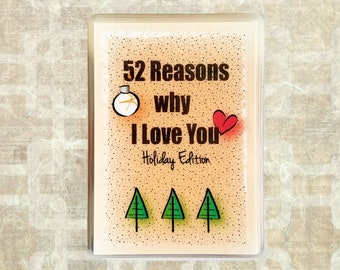 Boyfriend Christmas Gift Idea - 52 Reasons Why I Love You Holiday Present for Him - Christmas Gift for Her - last day to order DEC 5th