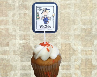 70th Birthday Cupcake Topper - Funny Personalized 70 Birthday Party Decorations for Her - Custom Classy Party Set with Hat for Female Bday
