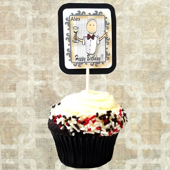Personalized Cupcake Topper For Men Birthday Party