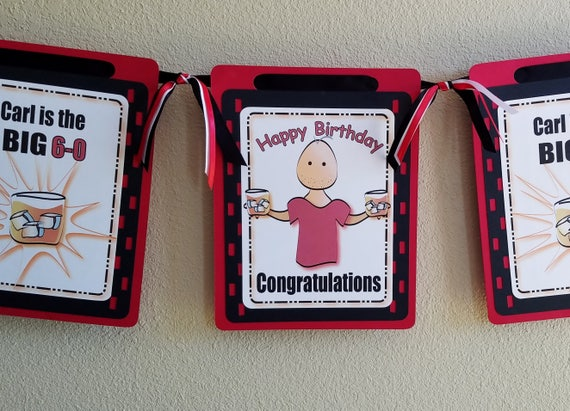 60th Birthday Party Idea For Male Personalized 60th Birthday Banner For Him Milestone Birthday Party With Drink Decorations For Men